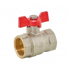 Ball Valve FxF - Red Butterfly Handle