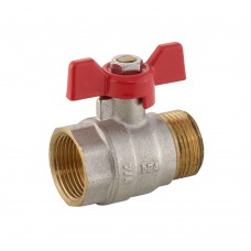 Ball Valve MxF - Red Butterfly Handle